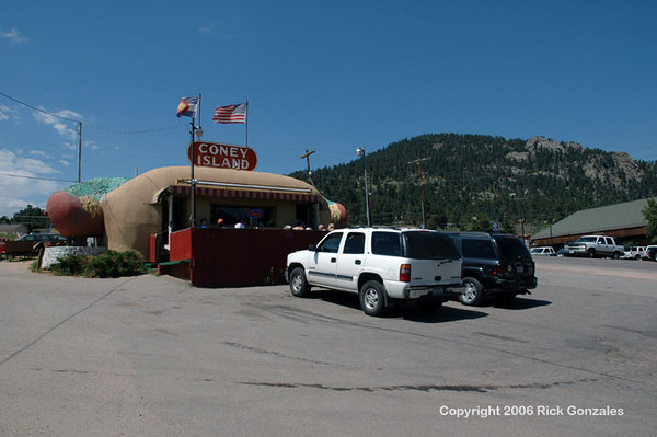 "Coney Island restaurant in Aspen Park, Colorado in July 2005. Serving hot dogs (of course), hamburgers, ice cream and more. Aspen Park is not ""Aspen,"" Colo."