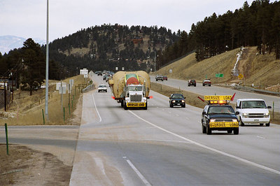 Coney Island trucking along Highway 285. Photo by David Bierbaumer.