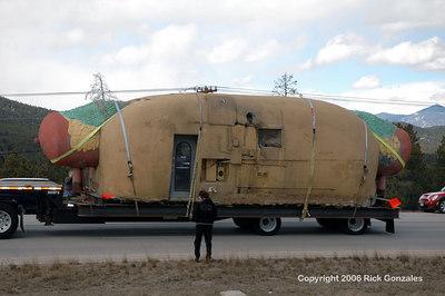 """Hot dog on a """"tray""""-lor, on its way to a new home in Bailey."""