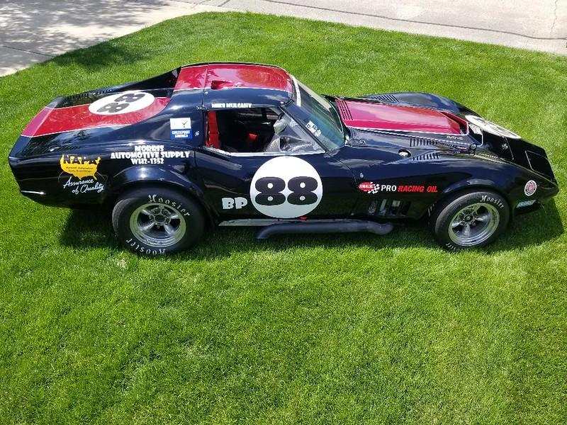 1972 SCCA BP Corvette ex Tom Van Dyke & others documented in log books.  Road America, Blackhawk Farms, Milwaukee, Mid-Ohio.  1999 VSCDA, MCSCC, SVRA Group 6 medallion.  Fresh Ray Bonthron engine + spares.
