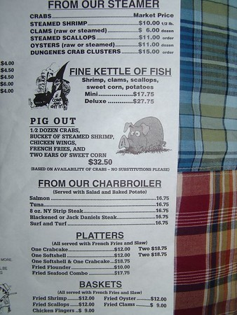 Crab Run Menu