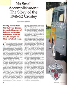 The Story of the 1946 - 1952 Crosley; Collectible Automobile December 2008.