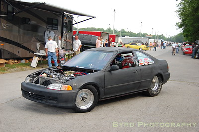 Small block Chevy powered Honda Civic...not your average drag car.