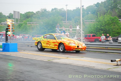Turbochaged stock suspension Mustang that competes in the Pro Street Bounty Race class.