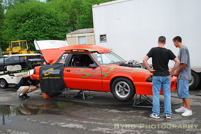 Steve Jackson's infamous Mustang, which is powered by a Procharged big block Chevy engine.