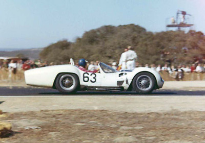 Noted Corvette ace Dick Thompson drove this LeMans-tailed 2-liter Maserati Type 60 #2468 for Cunningham at Riverside, and shown here at Laguna Seca. In this reliable and well-sorted car, he finished both events.