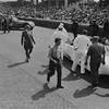 """24 Hours of Le Mans, 1950. Grid Scene, (Car Number 2), the Cadillac """"LE MONSTRE"""", (Briggs Cunningham and Phil Walters, co-drivers); Briggs Cunningham (seated, steering). (Photo credit: Smith Hempstone Photograph Collection, Revs Institute)"""