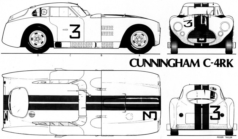 "Drawings of Cunningham C-4RK. Source:  <a href=""http://www.sportscars.tv"">http://www.sportscars.tv</a>."