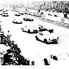 1960 start: Fred Gamble/Lou Lilley Corvette No. 4: Ron Flockhart/Bruce Halford D-Jaguar No. 5 and Gurney/Hansgen No. 6 take after Doc Thompson in Corvette No. 2, which was away first. From the book Americans at Le Mans by Albert R. Bochroch.