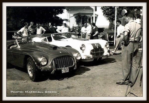 Cunningham -  C-2R Roadster and Bill Spear's Ferrari 166 at Elkhart Lake, 1951 (Photo credit - Marshall Green)