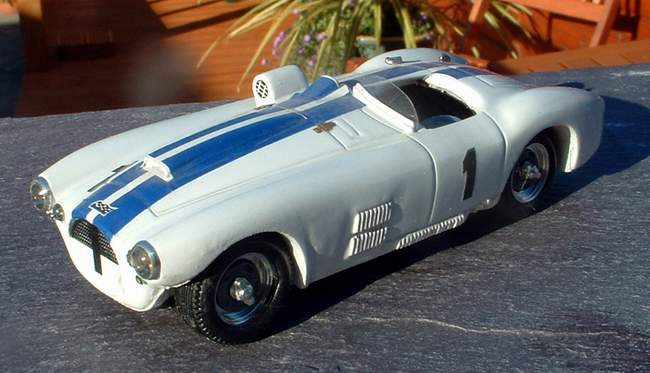 "Cunningham C4.R that achieved 4th place at Le Mans in 1952, driven by Briggs Cunningham and Bill Spear. Model by TOP MODEL. Credit: <a href=""http://server17.dedicateduk.com/~bruce/cgi-bin/diecasts.html"">http://server17.dedicateduk.com/~bruce/cgi-bin/diecasts.html</a>."