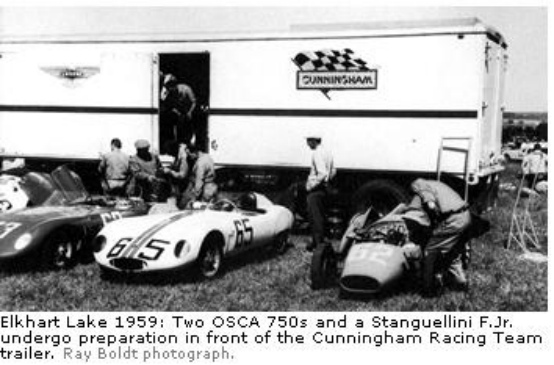 Elkhart Lake, 1959: Two OSCA 750s and a Stanguellini F. Jr. undergo preparation in front of the Cunningham Racing Team trailer. (Ray Boldt photograph)
