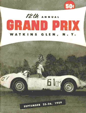 Lister Jaguar BHL 102 @ Watkins Glen GP - 1961 program cover. Photo credit: Colin Comer