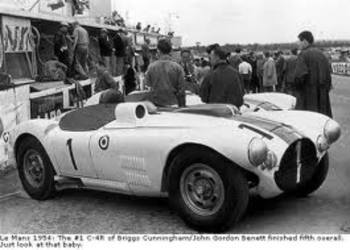 Le Mans 1954: The #1 C-4R of Briggs Cunningham/John Gordon Benett finished fifth overall. Just look at that baby!