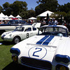 "Briggs Cunningham's interest in cars was varied, to say the least, but they almost always raced in America's racing colors of blue and white. Here, in The Quail Cunningham display we see Bruce Meyer's 1960 Corvette. This was one of three entered by Cunningham in that year's Le Mans. One of them finished 8th and won its class. That was the highest placing by a Corvette at Le Mans until 2001. Mark Gessler's Fiat-Abarth 1000 won a World Championship event for under 1000cc cars at Sebring in 1962 when entered by Cunningham. The Cadillac coupe in the background was another Cunningham Le Mans entry in 1950, where it was driven by Sam and Miles Collier. It is owned today by the Collier Collection. Credit: Michael T. Lynch. Source: <a href=""http://www.velocetoday.com/lifestyle/lifestyle_120.php"">http://www.velocetoday.com/lifestyle/lifestyle_120.php</a>."