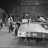 """24 Hours of Le Mans, 1950. Garage scene, (Car Number 2), the Cadillac """"LE MONSTRE"""", (Briggs Cunningham and Phil Walters, co-drivers); JS 625 (registration) (Photo credit: Smith Hempstone Photograph Collection, Revs Institute)"""