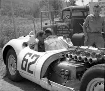 "Briggs Cunningham sits in his Lister Jag at Lime Rock ( <a href=""http://www.barcboys.com"">http://www.barcboys.com</a>)"