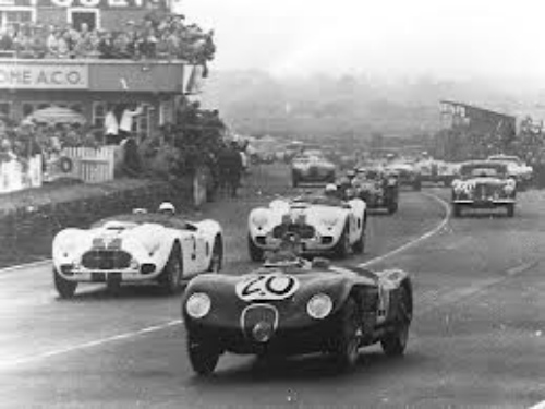 The winning #20 Jaguar Xk120C of Peter Whitehead and Peter Walker leads the two Briggs Cunningham C2-R's driven by #3 George Huntoon and Briggs Cunningham and the #5 of George Rand and Fred Wacker Jr.