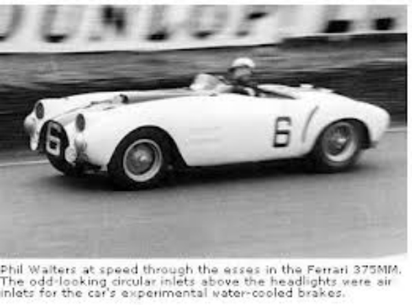 Phil Walters at speed through the esses in the Ferrari 375MM at Le Mans 1954. The odd-looking circular inlets above the the headlights were air inlets for the car's experimental water-cooled brakes.