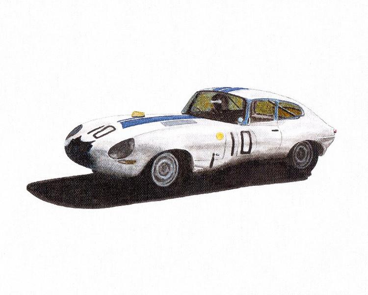 "Jaguar E-Type Cunningham/Salvadori 1962 (Source: <a href=""http://automobileracingart.blogspot.com"">http://automobileracingart.blogspot.com</a>)"