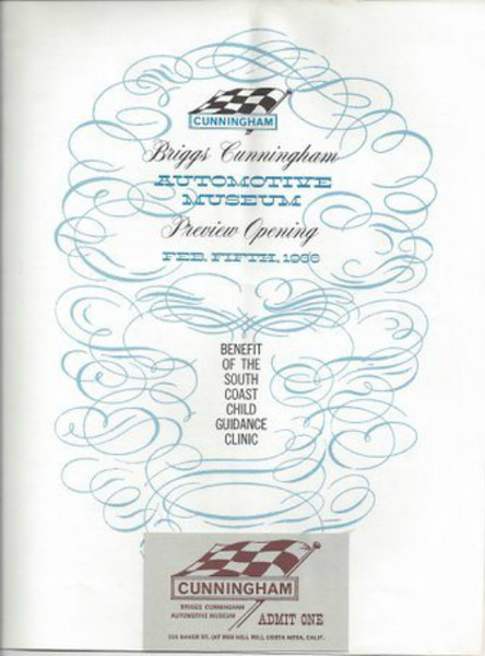 Briggs Cunningham Automotive Museum Preview Opening brochure