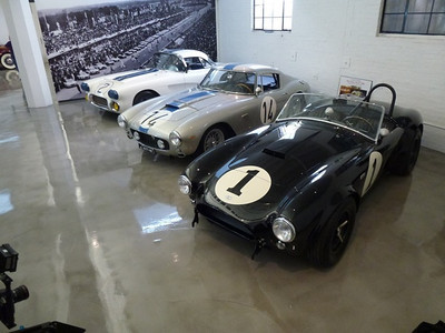 Briggs Cunningham Le Mans Corvette No. 2, Ferrari 250 GT SWB Le Mans Winner, and Shelby Cobra CSX 2001. All Owned By Bruce Meyer.