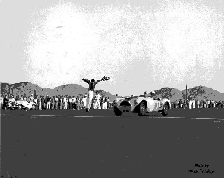 Victory! March 1953, John Fitch crosses the finish line in #15 at AFB