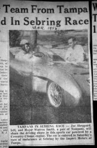 """Colin Chapman arrived at Sebring with his new creation, the Eleven. The car had been brought from New York by Briggs Cunningham for Chapman and Len Bastrup to drive in its world race debut. Eleven #156 had the first 1500cc Climax FWB under the bonnet, an MG Magnette transmission, limited-slip differential and long range fuel tanks. It was built to win the race. Source: <a href=""""http://lotuseleven.org"""">http://lotuseleven.org</a>."""