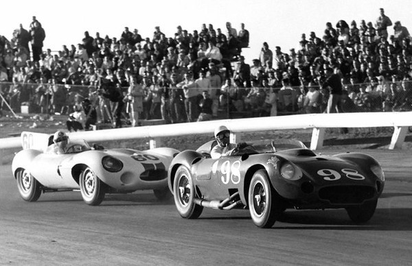 Riverside, November 17, 1957. On his way to winning, Shelby in the Edgar Maserati 450S leads Walt Hansgen in Briggs Cunningham's D-Type Jaguar.
