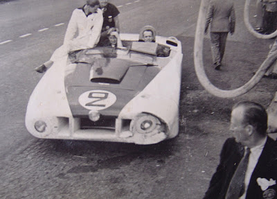 """Briggs Cunningham's Cadillac C-1 a.k.a. Le Monstre in the pits at Le Mans (1950) (Source: <a href=""""http://uncommonplacebook.blogspot.com"""">http://uncommonplacebook.blogspot.com</a>)"""