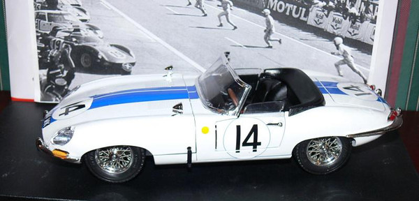 "1963 E-Type OTS: Briggs Cunningham and John Fitch drove Cunningham's E-Type at Sebring in 1962. They finished 14th overall and 1st in the GT4 class. The next year, Cunningham would field lightweight E-Types. Model by BBURAGO 1/18. Credit: <a href=""http://www.oldirish.com/collection/models3.html"">http://www.oldirish.com/collection/models3.html</a>."