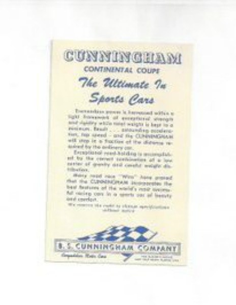 """Cunningham Continental Coupe: The Ultimate in Sports Cars"" brochure (Displayed at the Cunningham Museum)"