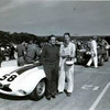 Briggs Cunningham and John Fitch with their #58 D-Type Jaguar at the Sept 8-9, 1956 Road America Enduro. They finished 2nd overall to the 4.5 Ferrari of Howard Hively and Jim Kilborn. Photo copyright Alix Lafontant.