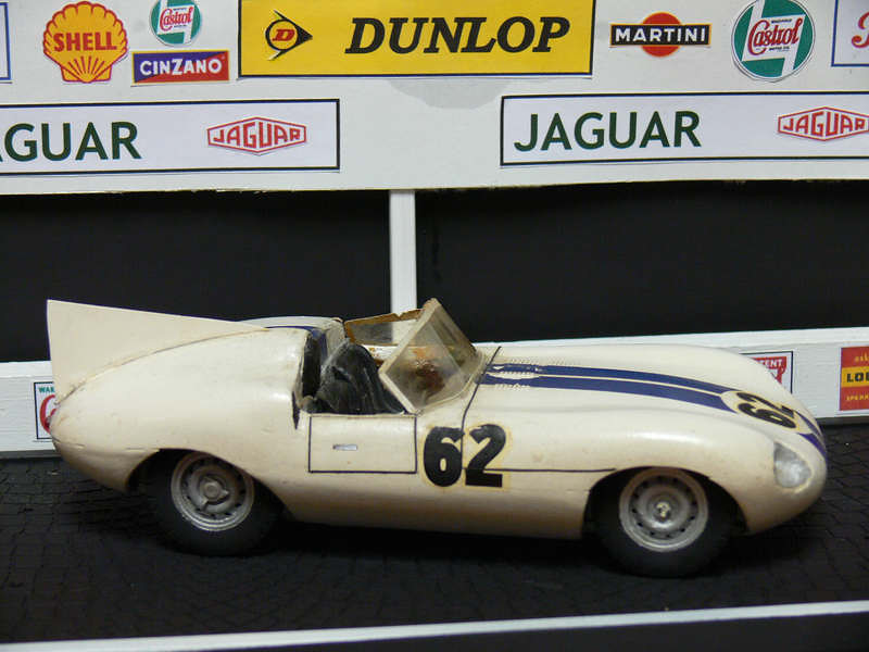 "1960 E2A: The E2A was created by Jaguar as a racing prototype which bridged the gap between the D-Type and the E-Type. There were new elements such as IRS and aluminum 3.0L engine to meet current regulation, producing close to 300 bhp, which distanced it from the D-Type. Briggs Cunningham entered the E2A at Le Mans and Dan Gurney and Walt Hansgen drove. Fuel injection woes sidelined the car, but not before Gurney turned the fastest lap. Model by MERIT/HYMAN 1/24. Credit: <a href=""http://www.oldirish.com/collection/models3.html"">http://www.oldirish.com/collection/models3.html</a>."