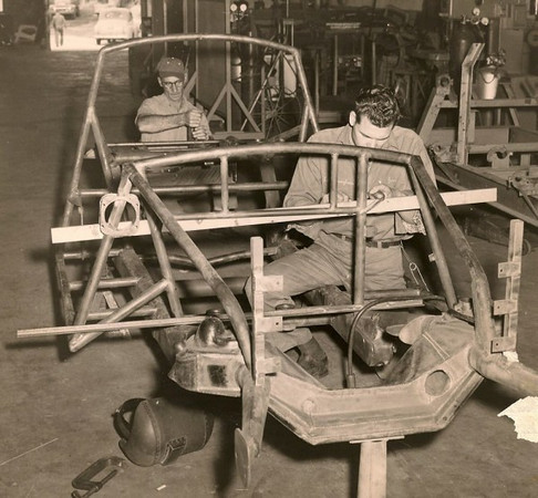 Building a car chassis (Source: The Old Motor)