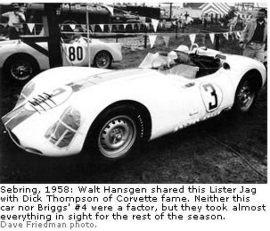 Sebring, 1958: Walt Hansgen shared this Lister Jag with Dick Thompson of Corvette fame. Neither this car nor Briggs' #4 were a factor, but they took almost everything in sight for the rest of the season. (Dave Friedman photo)
