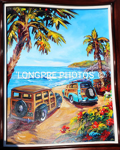 Painting of WOODIES  at DOHENY BEACH.