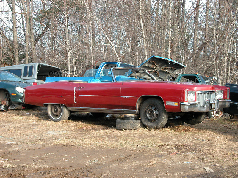 The donor vehicle for my second 500 Caddy engine, a '72 Eldorado.  The pull took four hours with hand tools and an engine crane.  The FWD configuration on the Eldo did make things a little more difficult.