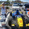 Christine Jerritts and her formula Mazda, bustin' their humps for the sponsors.