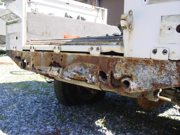 A rusted rear cross-member