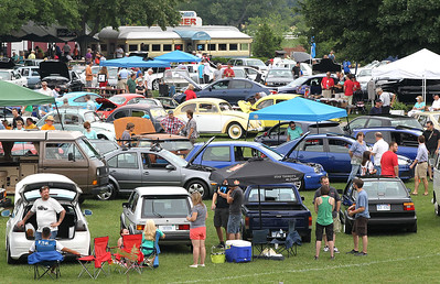 Volkswagens and other German cars and enthusiasts fill the Gilmore Car Museum lawn during the DeutscheMarques Car Show. (John A. Lacko / lackophoto.com)