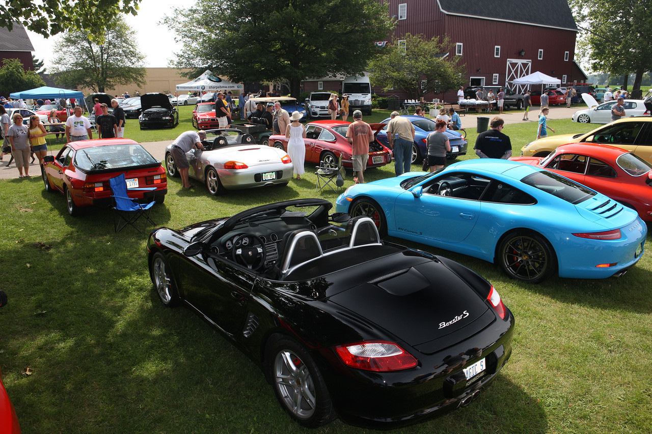 Porsches help decorate the show field during a recent DeutscheMarques car show at the Gilmore Car Museum. (John A. Lacko / lackophoto.com)