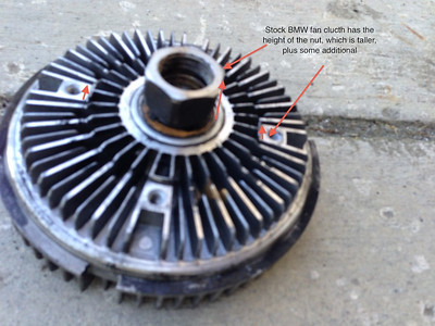 Here is a stock BMW fan clutch for a 760Li. Interestingly, it looks like the picture Deutsche Parts shows for thier kit on Ebay. I thought I was buying this part. The problem is: on a 760Li. the belts, hoses and fan are very tight. The clearance of the fan needs to be exactly correct.