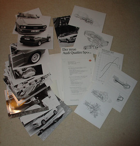 Audi Quattro Sport and 80 Quattro Press Kit contents. September 1983. Six (6) pages technical drawing, 18 photographs, French text (40 pages)