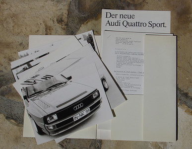 Audi Quattro Sport & 80 Quattro September 1983 Press Kit, 1984 Model Year. Contents 40 pages description in French, 18 photographs, 7 pages technical drawing and graphs.