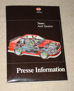 Audi Quattro Press Information, 1984 Model Year Quattro Sport (11 photos) & 80 Quattro (7 photos). Published September 1983 French text (40 pages).