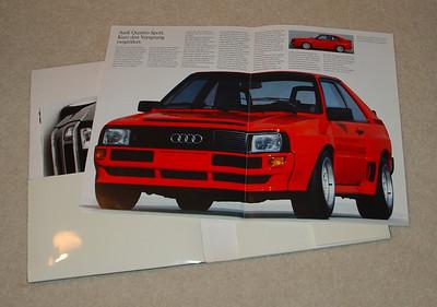 Audi Quattro Sport fold open brochure. German text. Printed 09/83.