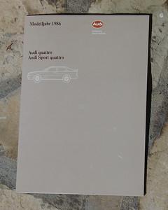 Audi Press Information, Model Year 1986; published September 1985. Text English. Models: Quattro (4 photos) & Sport Quattro (4 photos)..