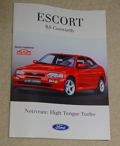 Ford Escort RS Cosworth brochure in French. 11 pages