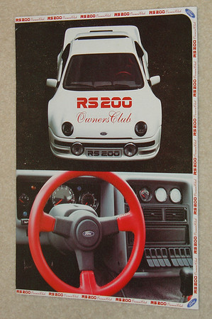 Ford RS 200 Owners Club issue No. 1. English. 12 Pages + covers + letter by founder Alan Fenwick.